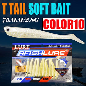 10pcs Paddle T Tail Soft Worm Fishing 75mm2.8g Shads Soft Lures Silicone Bass Minnow Bait Swimbaits Plastic Lure Pasca Grub Fish