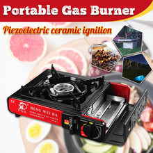 Load image into Gallery viewer, 2900W Portable Camping Gas Burners Butane Cooking Stove Wind Shield Outdoor Picnic BBQ Cooker Camping Stove Gas