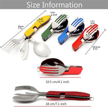 Load image into Gallery viewer, 4 in 1 Outdoor Tableware (Fork/Spoon/Knife/Bottle Opener) Camping Stainless Steel Folding Pocket Kits for Hiking Survival Travel
