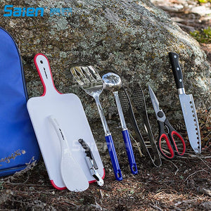 8pcs Backpacking Camping Cookware Kitchen Utensil BBQ,Cutting Board, Rice Paddle, Tongs, Scissors, Knife, Spork, Wine Opener