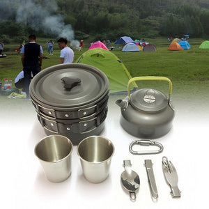 8pcs/set Portable 2-3 Persons Cookware Bowl Pot Spoon for Outdoor Camping Hiking Backpacking Travel Tableware Picnic Accessories