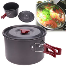 Load image into Gallery viewer, 8pcs/set Portable 2-3 Persons Cookware Bowl Pot Spoon for Outdoor Camping Hiking Backpacking Travel Tableware Picnic Accessories