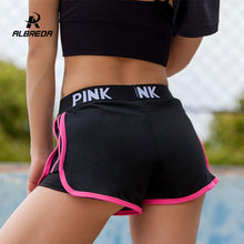 Load image into Gallery viewer, ALBREDA Letter Sports runing Shorts Women Yoga Shorts Push Hips Sexy Middle Waisted Gym Fitness Elastic Quick Dry Running Shorts