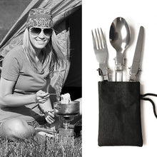 Load image into Gallery viewer, Folding Picnic/Traveling/Camping Outdoor Cutlery Utensils Portable Tableware Dinnerware Knife/Fork/Spoon Picnic Set