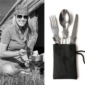 Folding Picnic/Traveling/Camping Outdoor Cutlery Utensils Portable Tableware Dinnerware Knife/Fork/Spoon Picnic Set