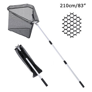 Fishing Landing Net 300cm/210cm/150cm , Nylon Mesh with Rubber Coating, Durable Aluminum Telescoping Pole