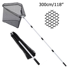 Load image into Gallery viewer, Fishing Landing Net 300cm/210cm/150cm , Nylon Mesh with Rubber Coating, Durable Aluminum Telescoping Pole