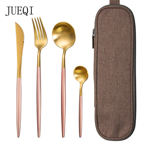 JueQi Dinnerware Set Stainless Steel Plating Gold Blue Black Knife Fork Tableware Cutlery Western Food Camping Tableware Bag