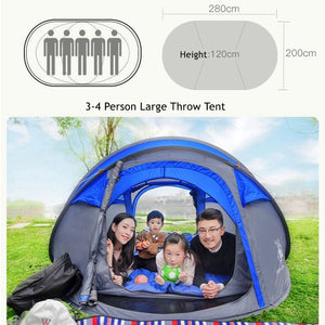 Large Space Pop Up Throw Tent Outdoor 3-4 Person Automatic Tents Waterproof Beach Tents Waterproof Family Camping Hiking Tents