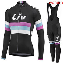 Load image into Gallery viewer, Liv 2018 Outdoor Sports Spring Summer Bike Bicycle Cycling long Sleeves jersey bib pants sets MTB Clothing Women Wear G2002