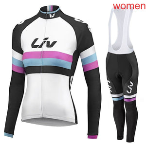 Liv 2018 Outdoor Sports Spring Summer Bike Bicycle Cycling long Sleeves jersey bib pants sets MTB Clothing Women Wear G2002