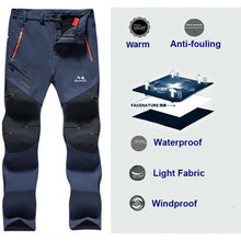 Load image into Gallery viewer, MAZEROUT Man Winter Fishing Waterproof Camping Trekking Fleece Outdoor Hiking Pants Climbing skiing Softshell Trouser Travel 6XL
