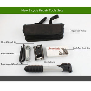 Mountain Bike Bicycle Repair Tool Kit with Mini Pump