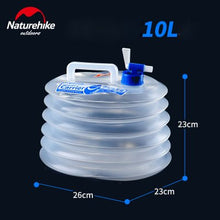 Load image into Gallery viewer, Naturehike Outdoor Collapsible Water Container Folding Bucket Storage PE Food Grade Hiking Camping water tank foldable water bag