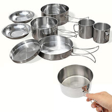 Load image into Gallery viewer, New 8Pcs Outdoor Picnic Pot Pan Kit Stainless Steel Backpacking Cookware Plate Bowl Cup Pan Cover for Camp Hiking Cooking Set