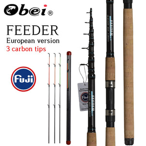OBEI Feeder fishing rod telescopic spinning casting Travel Rod 3.3 3.6m vara de pesca Carp Feeder 60-180g pole