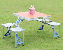 Load image into Gallery viewer, Outdoor Portable Camping Picnic Integrated Folding Table Chair Sets Desk Chairs Set