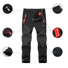 Load image into Gallery viewer, Oversized Men Winter Fleece Waterproof Outdoor Pants Soft shell Trousers Camp Fish Trekking Climb Hiking Sport Travel Training