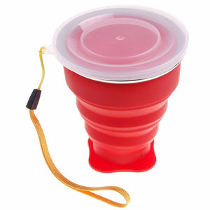 Portable Silicone Folding Water Tea Cup Mugs Candy Color Silicone Traveling Foldable Cups For Travel Outdoor Camping Drinkware