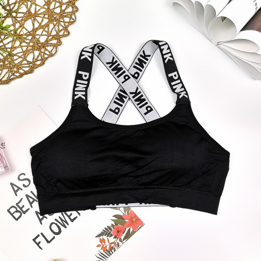 Push Up Sports Top For Yoga Fitness Cross Strap Women's Gsleeveless Gym Running Top Padded Tank Athletic Vest
