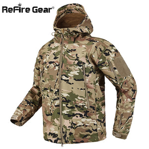 ReFire Gear Shark Skin Soft Shell Tactical Military Jacket Men Waterproof Fleece Coat Army Clothes Camouflage Windbreaker Jacket. From 1stopoutdoors store USA