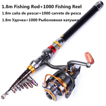 Load image into Gallery viewer, 1.8-3.6m Telescopic Fishing Rod and 11BB Fishing Reel