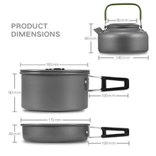 Load image into Gallery viewer, VILEAD Portable Camping Pot Pan Kettle Set Aluminum Alloy Outdoor Tableware Cookware 3pcs/Set Teapot Cooking Tool for Picnic BBQ