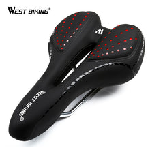 Load image into Gallery viewer, WEST BIKING Bike Silicone Cushion PU Leather Surface Silica Filled Gel Comfortable Hollow Cycling Seat Shockproof Bicycle Saddle