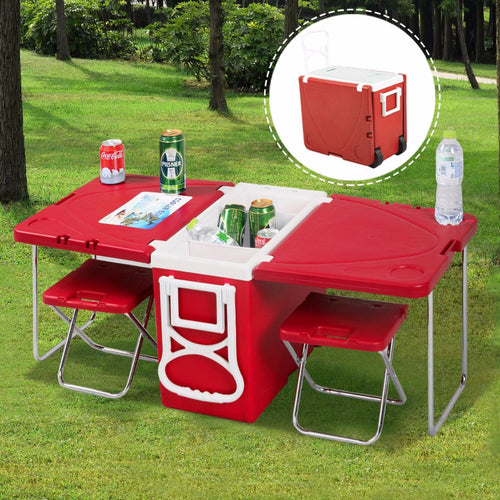 Multi Function Rolling Cooler Box Picnic Camping Outdoor Furniture Set Folding Garden Outdoor Table + 2 Chairs