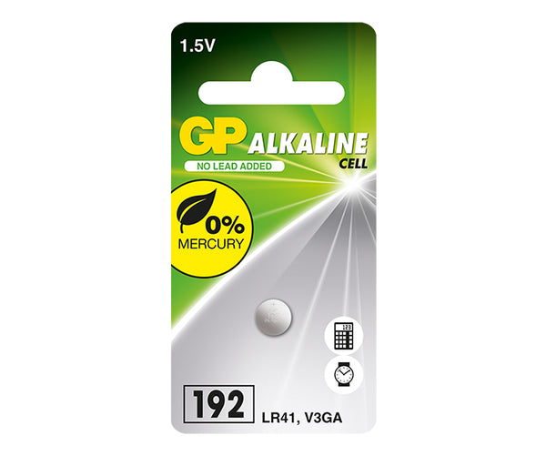 GP Alkaline Button Cell LR41 /192F Mercury Free