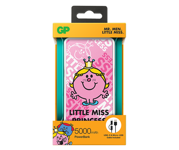 GP x MR. MEN™ LITTLE MISS™ - Little Miss Princess 5000mAh PowerBank-GP Batteries Hong Kong