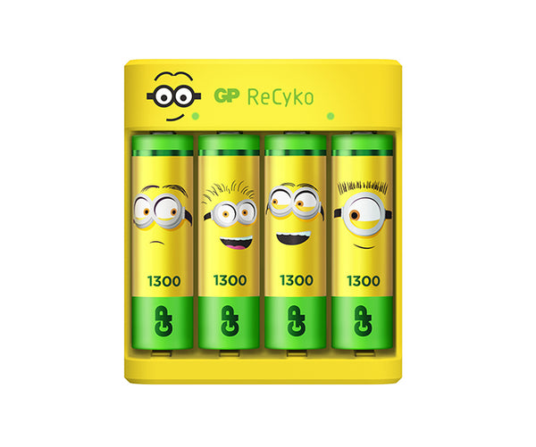 Limited Edition GP x Minions USB Charger E411 with 4 x AA 1,300mAh NiMH Batteries