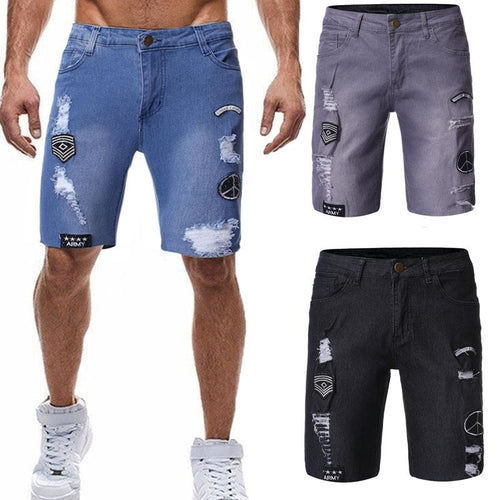 2019 Summer New Men's Personality Folds Washed Jeans