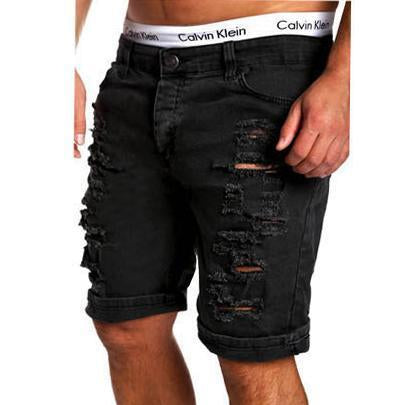 Men's Fashion Solid Color Ripped Short Jeans