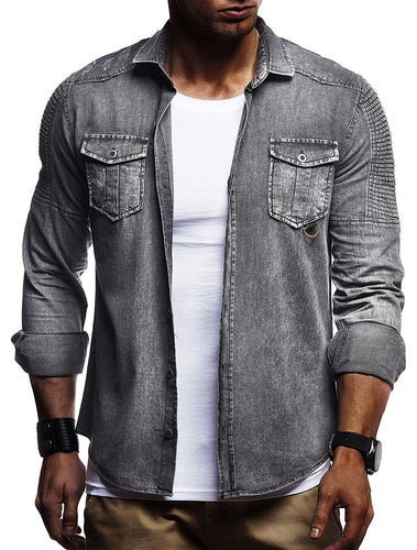 Solid Color Pleated Men's Long-Sleeved Denim Shirt
