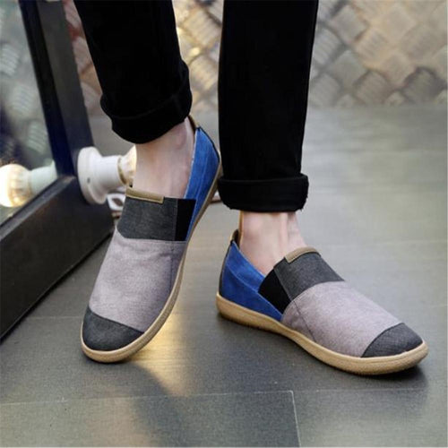 Fashion Youth Color Block Canvas Loafers Shoes