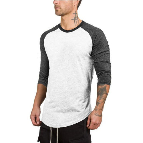 Round Collar Contrasting Color Three-Quarter Sleeve T-Shirt