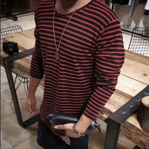 Long-Sleeved T-Shirt For Men With Casual Striped Sleeves