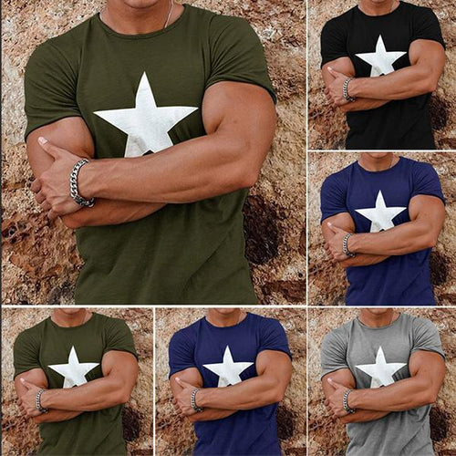 Men's Fashion Star Print Short Sleeve T-Shirt