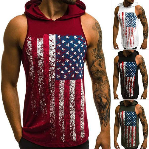 Men's Fashion Flag Print Hooded Tank