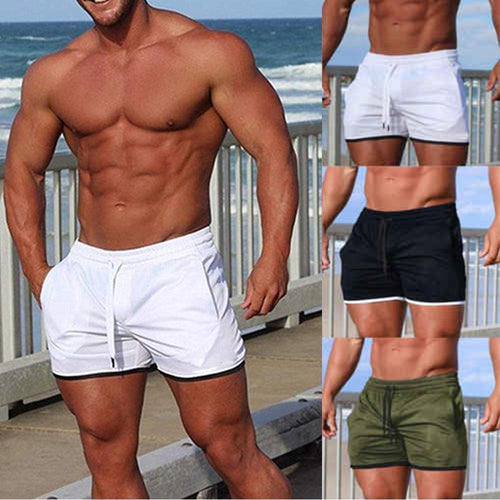 Solid Color Elastic Tie Beach Shorts Swimming Shorts