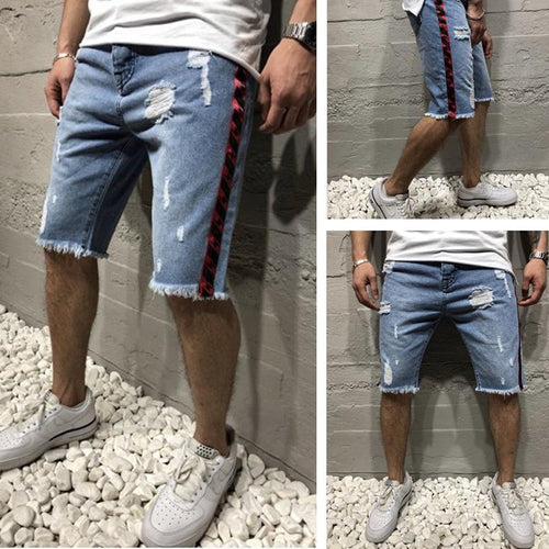 Slim Hole Men's Jeans Pants   Shorts Ribbon