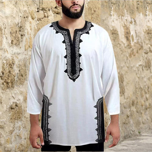 African Ethnic Style Lace Stitching Stand Collar Men's T-Shirt