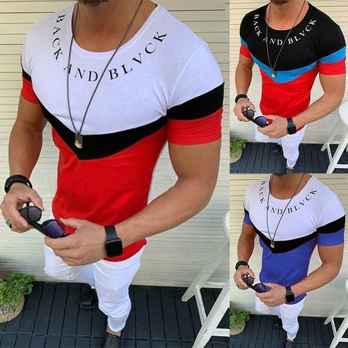 Men's Fashion Colorblock Slim Print T-Shirt