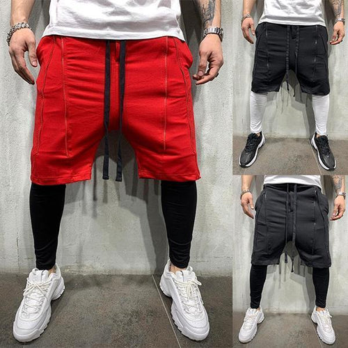 Street Style Layered-Look Zipper Hip Hop Shorts
