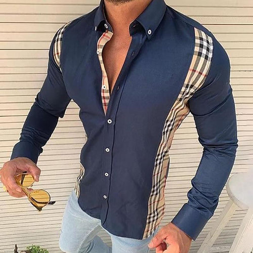 Commuting Splicing Plaid Turndown Collar Shirt