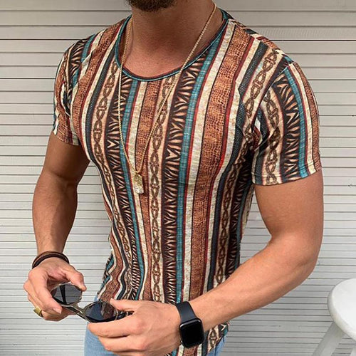 Fashion Splicing Printing Round Neck T-Shirt
