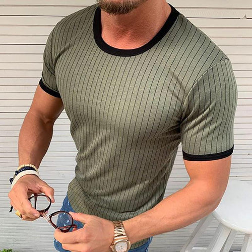 Casual Stripe Round Neck Slim Fit Tee