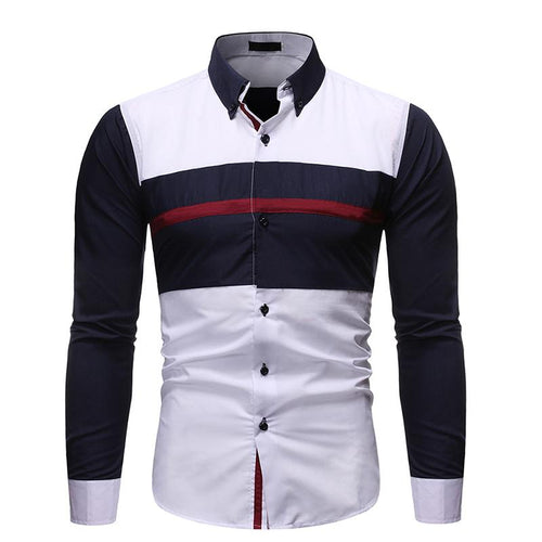 Casual Contrast Color Splicing Stripe Long Sleeve Shirt