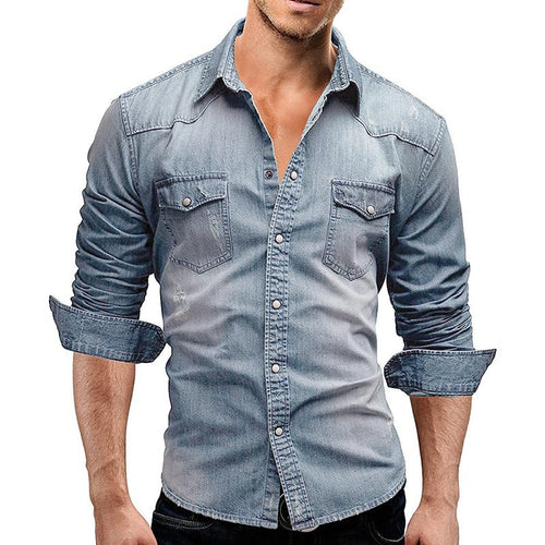Simple Turndown Collar Long Sleeve Denim Shirt